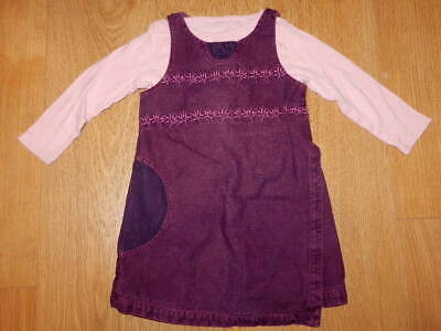 GIRLS ~ 2 3 Yrs ~ MARESE Stunning PURPLE DENIM DRESS Pink Lacey LS TOP 2p OUTFIT • 0.99£