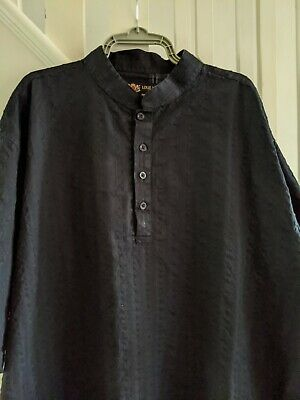 Mens Louie James Short Sleeved Collarless Tunic Seersucker Black Shirt  Size 3XL • 5.99£