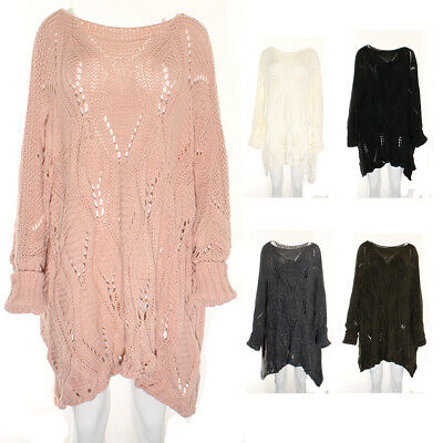 Ladies Jumper Dress Cable Knit Asymmetric Slouchy Knitted Jump Top Size 12 - 22 • 18.95£