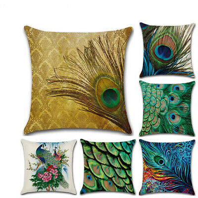 Cushion Cover Pillow Covers Peacock Throw Pillow Cases Linen 18 X 18 • 2.99£