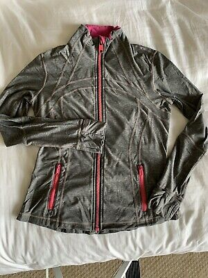 $ CDN14 • Buy Lululemon Fitted Jacket Size 10 Heather Gray/pink Accents Full Zip