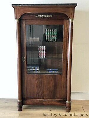 AU1675 • Buy Antique French Vitrine Bookcase Display Cabinet Empire Style Walnut - RF107