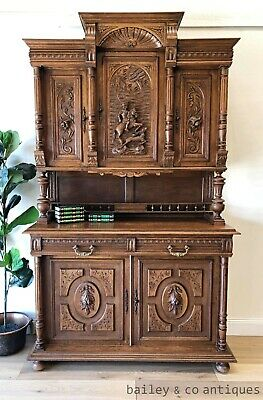 AU1585 • Buy Antique French Hunting Sideboard Buffet Heavily Carved Oak  - PQ052