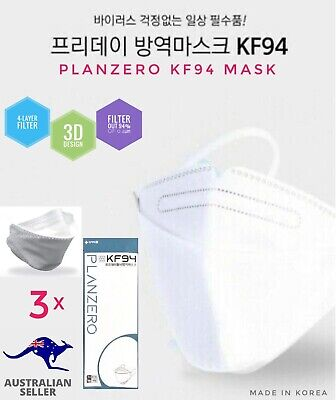AU21.95 • Buy Planzero 3D 4-Layer KF94 Filtered Protection Face Mask 3xPack KOREA (AU STOCK)