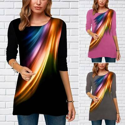 AU16.62 • Buy Womens Long Sleeve T-shirt Crew Neck Casual Tunic Tops Blouse Printed Plus Size