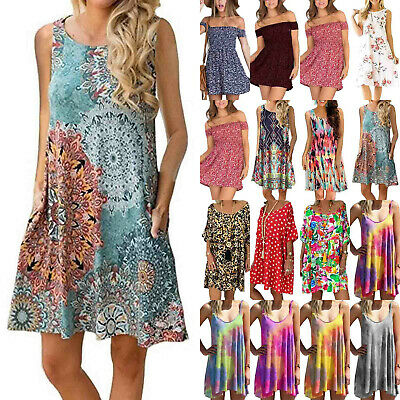AU18.23 • Buy Womens Ladies Floral Mini Dress Summer Beach Holiday Boho Baggy Casual Sundress