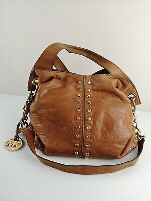 MICHAEL KORS MK Tan Leather Ladies Women Slouch Shoulder Hand Bag Gold Studs • 85£