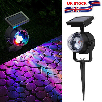 Solar Spot Lights LED Colour Changing Projection Stake Garden Party Stage Light • 7.50£