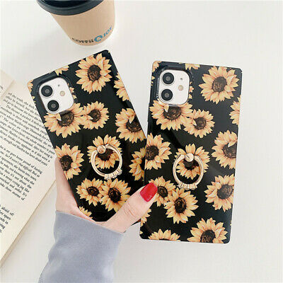 Luxury Floral Square Phone Case Ring Holder For IPhone 12 11 Pro Max 7 8 + X XR  • 4.66£