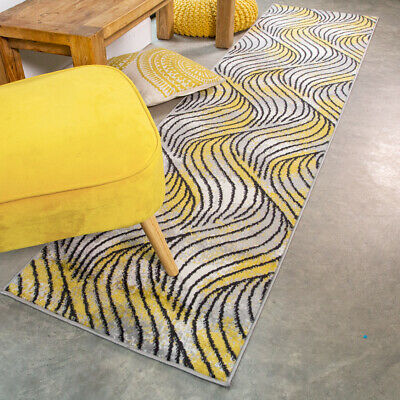 Long Ochre Yellow Runner Small Large Rugs For Living Room Soft Wave Hall Runners • 14.95£