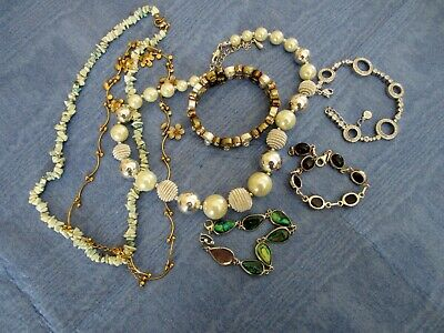 Dress Jewellery 3 Necklaces & 4 Bracelets Job Lot • 6.95£