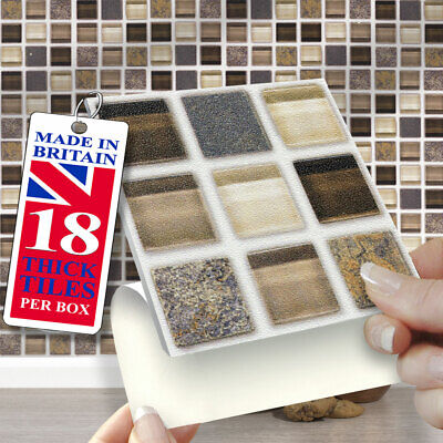 £12.99 • Buy Stick On Wall Tiles | Pack 18 Glass Stone Mosaic Self Adhesive Wall Tiles 4 X4