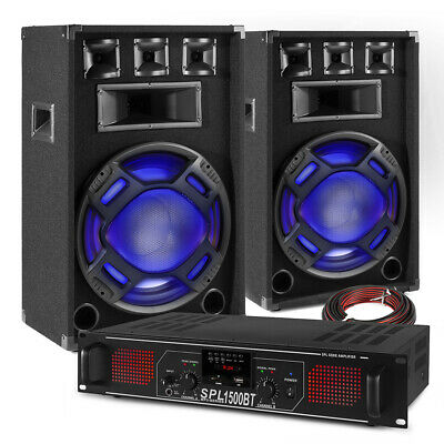 PA Speaker System Set With Bluetooth Amplifier Mobile Disco DJ Party BS-15 Inch • 249£