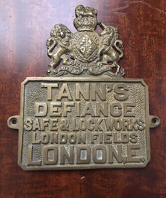 An Antique Cast Brass Tann's Safe Plaque/Plate. • 29.99£