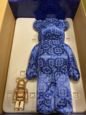 $475 • Buy Used BEARBRICK X CLOT X NIKE 100% & 400% Set Blue Silk BE@RBRICK