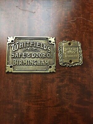 A Nice Cast Brass Antique Whitfields Safe Plaque/Plate & Sliding Escutcheon. • 28£