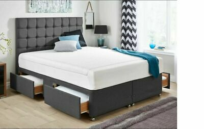 4ft6 - 5ft Suede Grey - Divan Bed Base - Cube Headboard - Drawer Storage- Double • 259£
