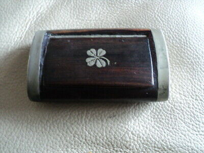 £28 • Buy Antique Wooden Snuff Box With Inlaid With White Metal