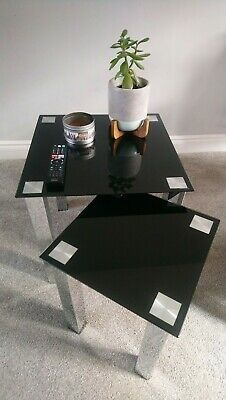 Nest Of 2 Black Glass Tables With Chrome Legs. Brand New In Box • 35£
