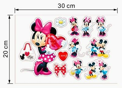 Disney Minnie Mickey Mouse Stickers A4 Sheet Childrens Bedroom Wall Sticker  • 3.95£