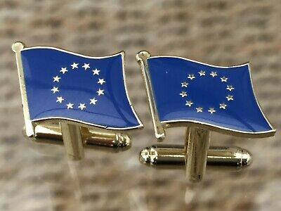 European Union / E.u Flag Cufflinks. Nice Men's / Women's Gift. Free Pouch. • 2.99£