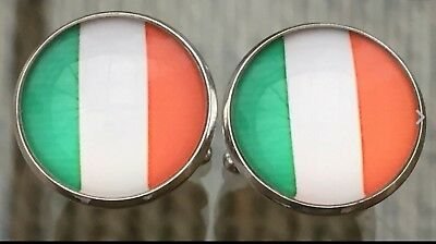 Ireland / Irish Flag Domed Effect Cufflinks....nice Mens/womens Gift-free Pouch • 3.45£