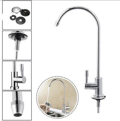 Drinking  Water Filter Tap  Ceramic Core Swan Neck Stainless Steel Finish • 10.99£