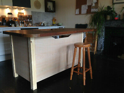 Kitchen Island Breakfast Bar - Made To Order With Solid Beech Countertop.  • 850£
