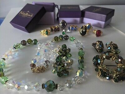 $ CDN130.50 • Buy Vintage Jewelry LOT Green Crystals Signed Vendome Austria Palm Beach 8 New Rings