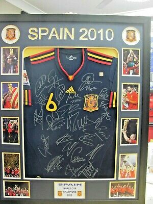 AU1100 • Buy 2010 Spain World Cup Champions Signed & Framed Shirt/jersey + Coa