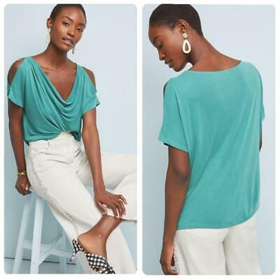 $ CDN42.12 • Buy Anthropologie Sz Large Cupro Open Shoulder Top Blouse Green Draped Pullover New
