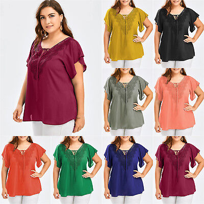 AU13.77 • Buy Womens V Neck T Shirt Blouse Ladies Casual Loose Summer Tee Shirt Tops Plus Size