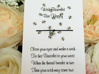 £2.95 • Buy Bee Happy Wish Bracelet Friends Gift Bumble Bee Charm Anklet Friendship String