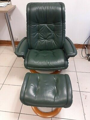 Ekornes Stressless Recliner Chair And Stool - Green Leather With Teak Base • 275£