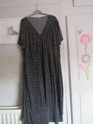 Woman Plus Size 32 Blue & Cream Polka Dot Fit And Flare Dress • 1.40£