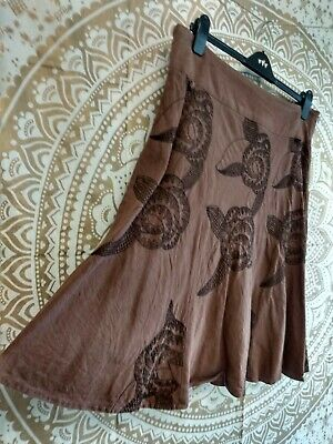 NEXT Brown Linen Blend Ethnic Embroidered Flared Knee Length Skirt - Size 16 • 3£