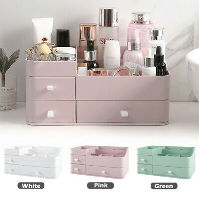 Large Cosmetic Storage Box Jewelry Brushes Skin Care Organiser With Compartments • 11.99£