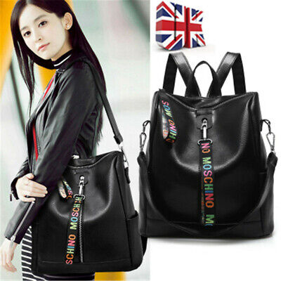 Womens Leather Backpack Crossbody Bag Leisure Travel Bag Tote Daypack • 15.19£