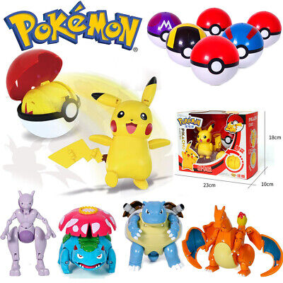 Pokeball Ball Transformation Action Pikachu Figure Deformation Model Character • 14.99£