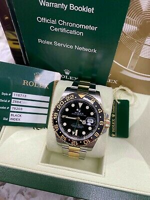 $ CDN19332.95 • Buy Rolex GMT Master II 116713 18K Yellow Gold Stainless Steel Watch Box Papers 2008