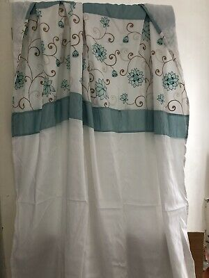 """White Blue Tab Top Paoletti Lightweight Curtains 66"""" W X 90"""" Drop Light Teal • 25£"""