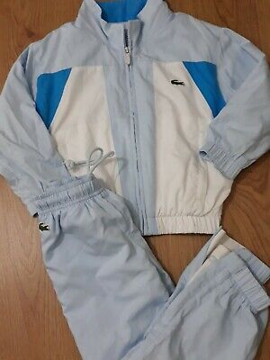 Lacoste Boys Girls Tracksuit Jacket And Joggers Cuffed Bottom Pale Blue White • 39.99£