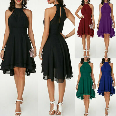 AU23.65 • Buy Plus Size Womens Chiffon Sleeveless Dress Evening Party Cocktail Prom Mini Dress