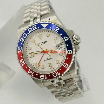 $ CDN112.05 • Buy 40mm Bliger White Dial Pepsi Bezel Sapphire Glass Red GMT Automatic Watch Date