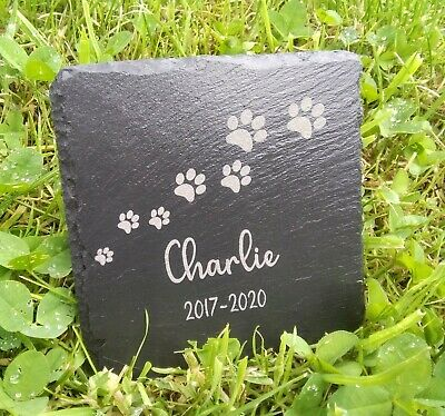 Memorial Plaque For Pet Cat Dog Slate Stone Paw Grave Marker Personalised  • 4.99£