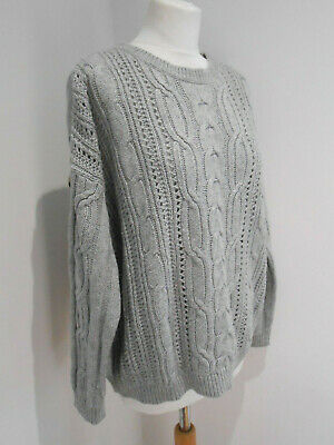 Marks & Spencer Collection Grey Chunky Knit Boxy Slouchy Jumper 14 16 18 VGC • 15£