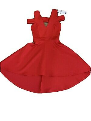 Boohoo Red Clea Bardot High Low Skater Dress Size 8 • 6.50£