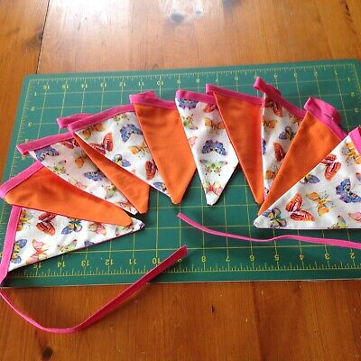 Butterfly Print Multicoloured Fabric Bunting Double Sided Handmade, Cotton. • 9.50£