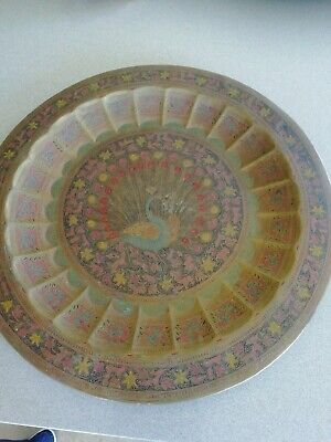 Antique Indian Brass Tray, Brass Charger, Plate • 11£