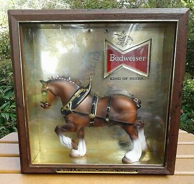 $ CDN65.87 • Buy Vintage 70s Budweiser Beer Sign Clydesdale Horse Shadow Box Light Lighted Rare